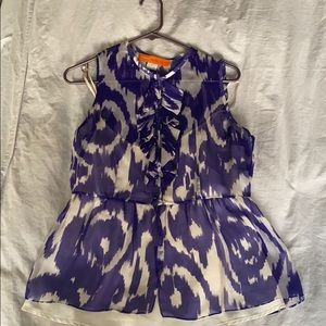 Cynthia Steffe purple ikat sleeveless blouse sz 6